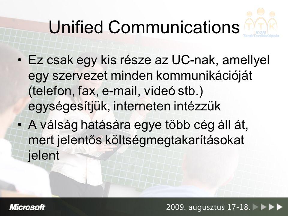 Unified Communications •Ez csak egy kis része az UC-nak, amellyel egy szervezet minden kommunikációját (telefon, fax, e-mail, videó stb.) egységesítjük, interneten intézzük •A válság hatására egye több cég áll át, mert jelentős költségmegtakarításokat jelent