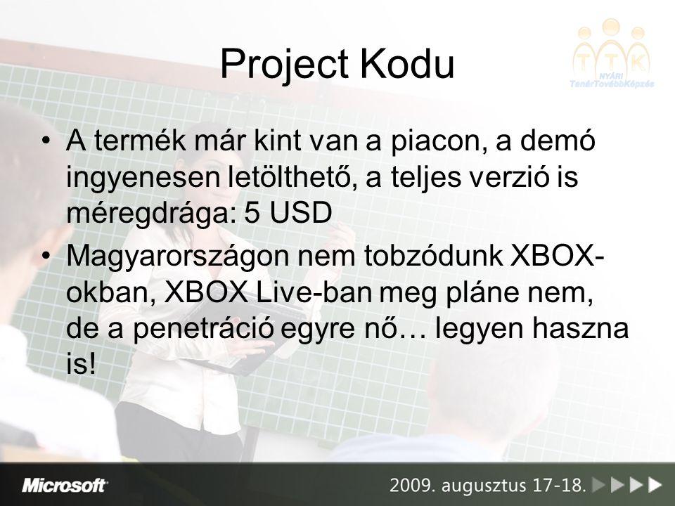 •A termék már kint van a piacon, a demó ingyenesen letölthető, a teljes verzió is méregdrága: 5 USD •Magyarországon nem tobzódunk XBOX- okban, XBOX Live-ban meg pláne nem, de a penetráció egyre nő… legyen haszna is!