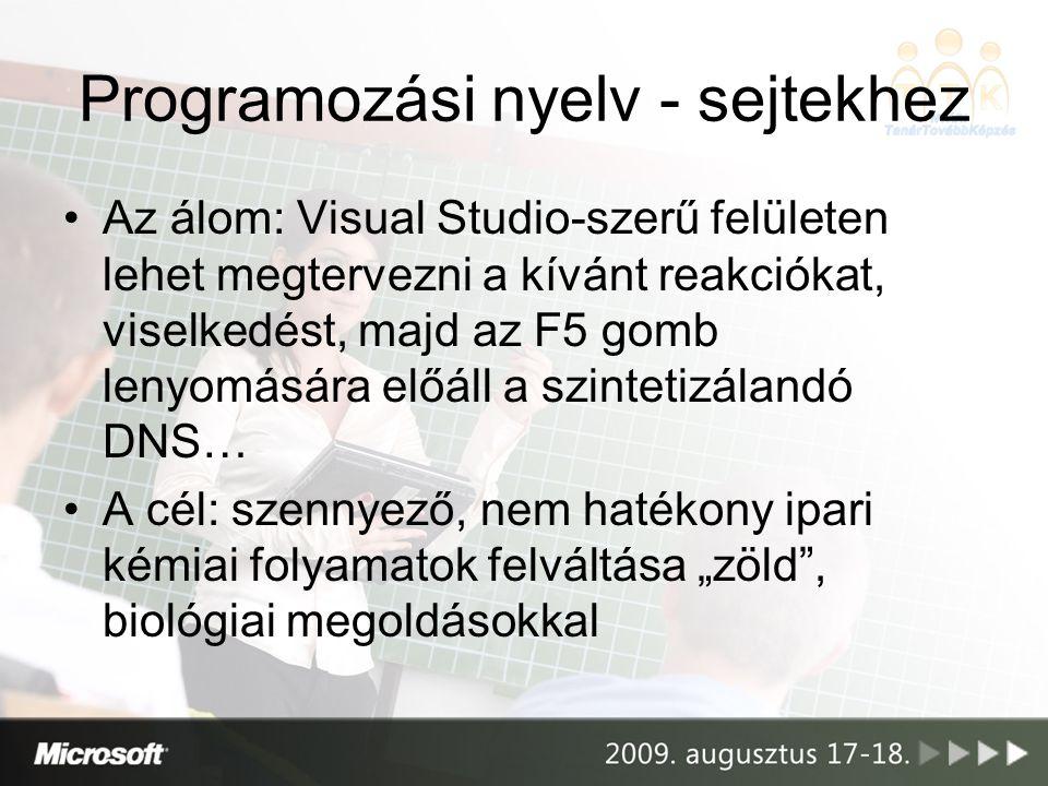 """Programozási nyelv - sejtekhez •Az álom: Visual Studio-szerű felületen lehet megtervezni a kívánt reakciókat, viselkedést, majd az F5 gomb lenyomására előáll a szintetizálandó DNS… •A cél: szennyező, nem hatékony ipari kémiai folyamatok felváltása """"zöld , biológiai megoldásokkal"""