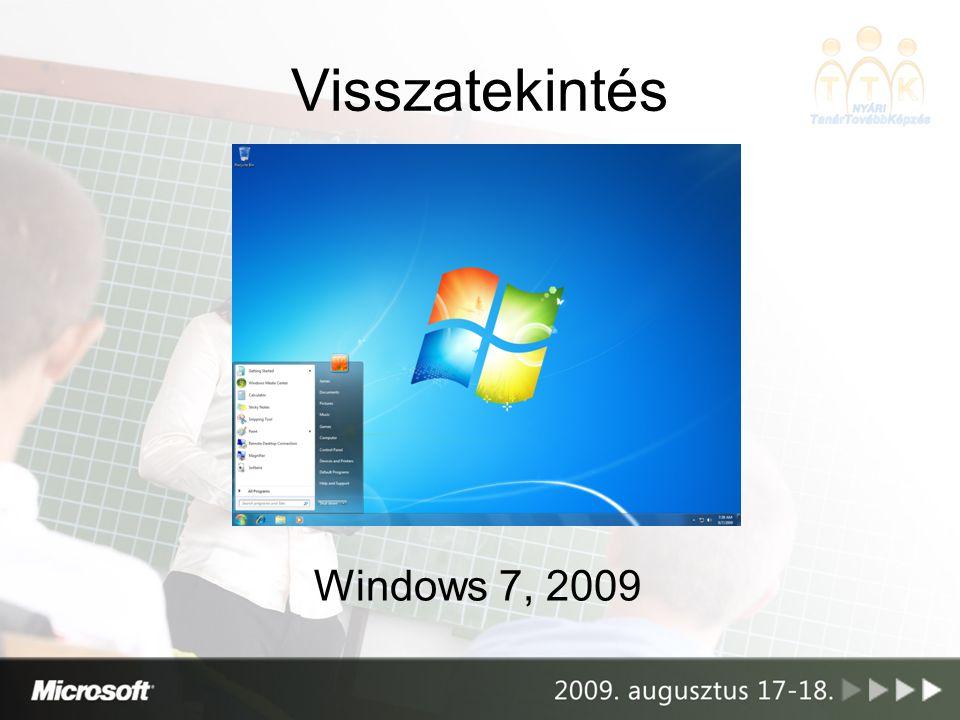 Visszatekintés •24 év, Windows 1 => 7 •Közben… –Széleskörben elterjedt az internet, a mobileszközök –Kb.