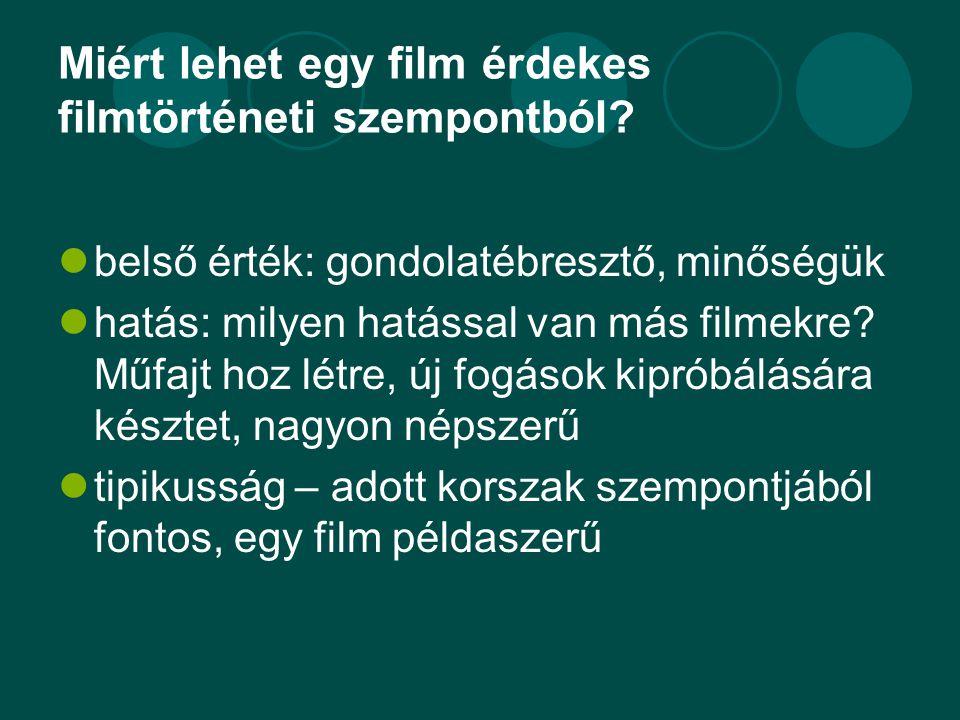 Miért lehet egy film érdekes filmtörténeti szempontból?  belső érték: gondolatébresztő, minőségük  hatás: milyen hatással van más filmekre? Műfajt h