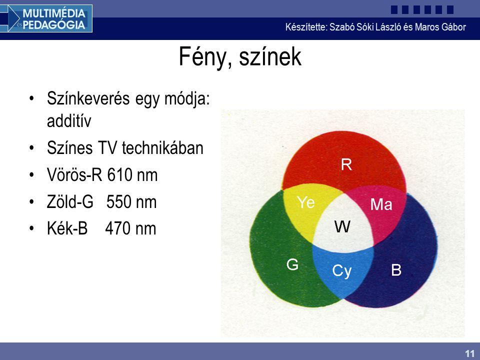 Készítette: Szabó Sóki László és Maros Gábor 11 Fény, színek •Színkeverés egy módja: additív •Színes TV technikában •Vörös-R 610 nm •Zöld-G 550 nm •Ké