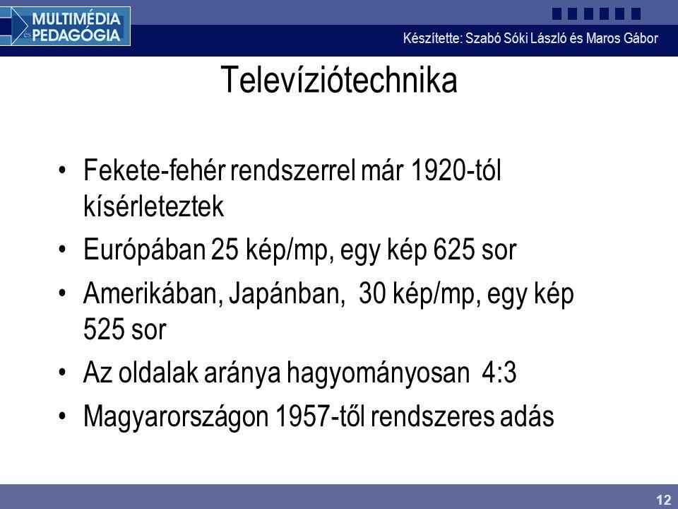 Készítette: Szabó Sóki László és Maros Gábor 12 Televíziótechnika •Fekete-fehér rendszerrel már 1920-tól kísérleteztek •Európában 25 kép/mp, egy kép 6
