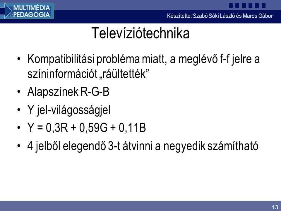 """Készítette: Szabó Sóki László és Maros Gábor 13 Televíziótechnika •Kompatibilitási probléma miatt, a meglévő f-f jelre a színinformációt """"ráültették"""""""