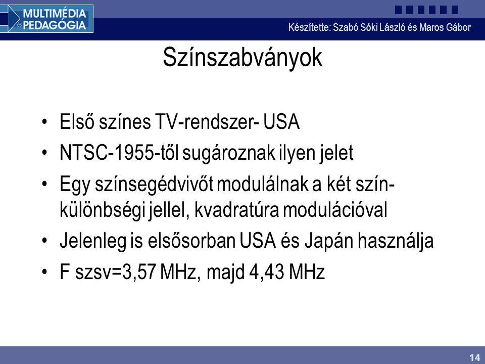 Készítette: Szabó Sóki László és Maros Gábor 14 Színszabványok •Első színes TV-rendszer- USA •NTSC-1955-től sugároznak ilyen jelet •Egy színsegédvivőt