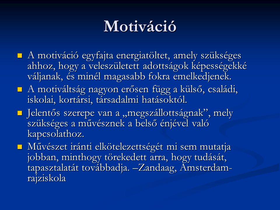 Motiváció  A motiváció egyfajta energiatöltet, amely szükséges ahhoz, hogy a veleszületett adottságok képességekké váljanak, és minél magasabb fokra