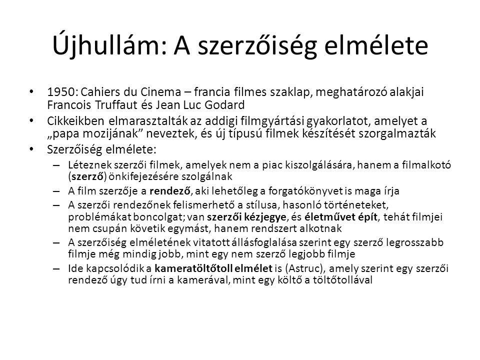 Újhullám: A szerzőiség elmélete • 1950: Cahiers du Cinema – francia filmes szaklap, meghatározó alakjai Francois Truffaut és Jean Luc Godard • Cikkeik