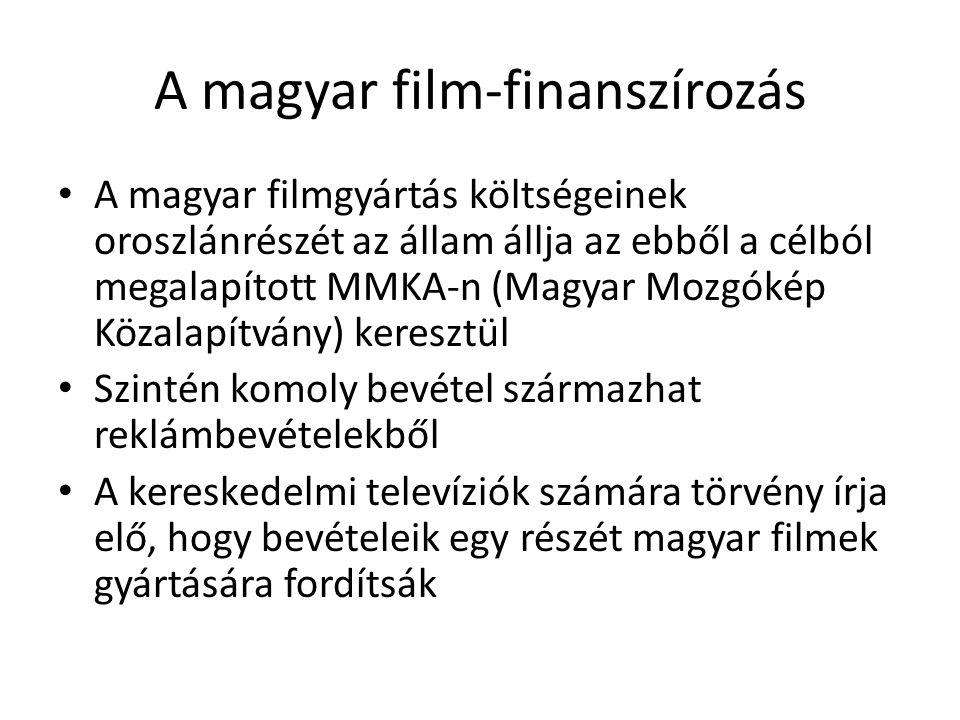 A magyar film-finanszírozás • A magyar filmgyártás költségeinek oroszlánrészét az állam állja az ebből a célból megalapított MMKA-n (Magyar Mozgókép K