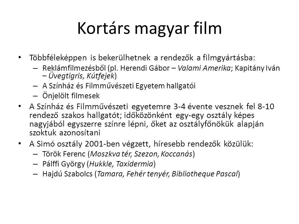 Kortárs magyar film • Többféleképpen is bekerülhetnek a rendezők a filmgyártásba: – Reklámfilmezésből (pl. Herendi Gábor – Valami Amerika; Kapitány Iv