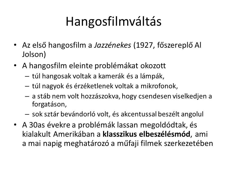 Hangosfilmváltás • Az első hangosfilm a Jazzénekes (1927, főszereplő Al Jolson) • A hangosfilm eleinte problémákat okozott – túl hangosak voltak a kam