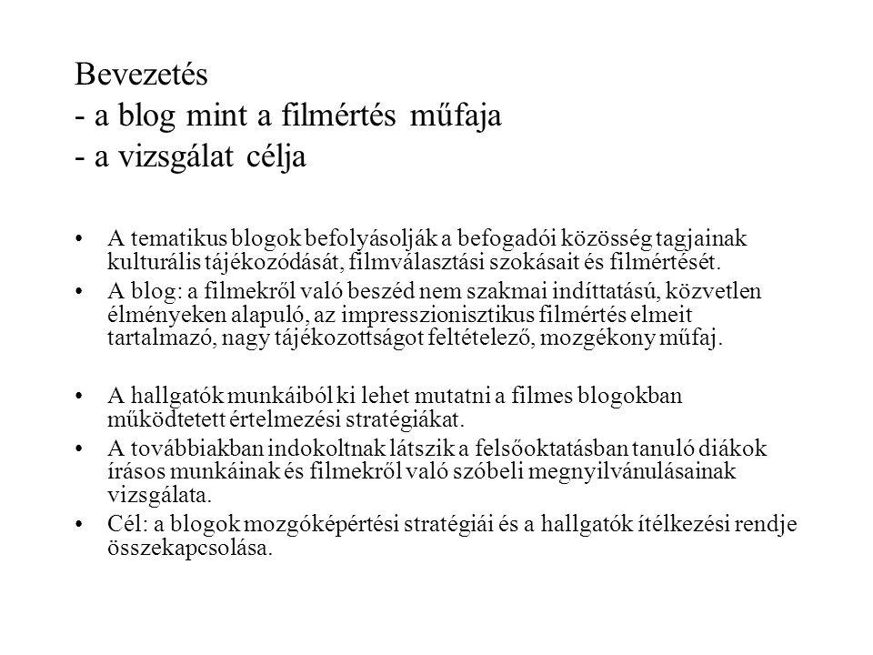 Bevezetés - a blog mint a filmértés műfaja - a vizsgálat célja •A tematikus blogok befolyásolják a befogadói közösség tagjainak kulturális tájékozódás