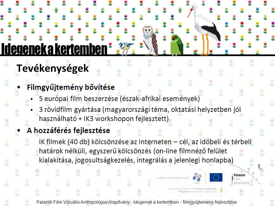 Tevékenységek •Filmgyűjtemény bővítése  5 európai film beszerzése (észak-afrikai események)  3 rövidfilm gyártása (magyarországi téma, oktatási helyzetben jól használható + IK3 workshopon fejlesztett) •A hozzáférés fejlesztése IK filmek (40 db) kölcsönzése az Interneten – cél, az időbeli és térbeli határok nélküli, egyszerű kölcsönzés (on-line filmnéző felület kialakítása, jogosultságkezelés, integrálás a jelenlegi honlapba) Palantír Film Vizuális Antropológiai Alapítvány - Idegenek a kertemben - filmgyűjtemény fejlesztése
