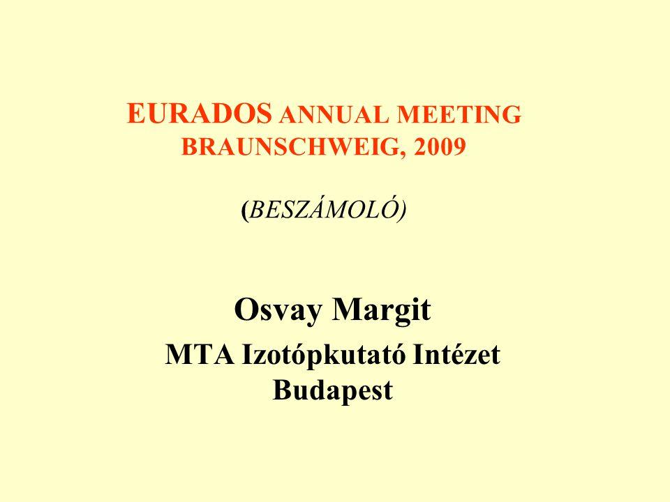EURADOS ANNUAL MEETING BRAUNSCHWEIG, 2009 (BESZÁMOLÓ) Osvay Margit MTA Izotópkutató Intézet Budapest