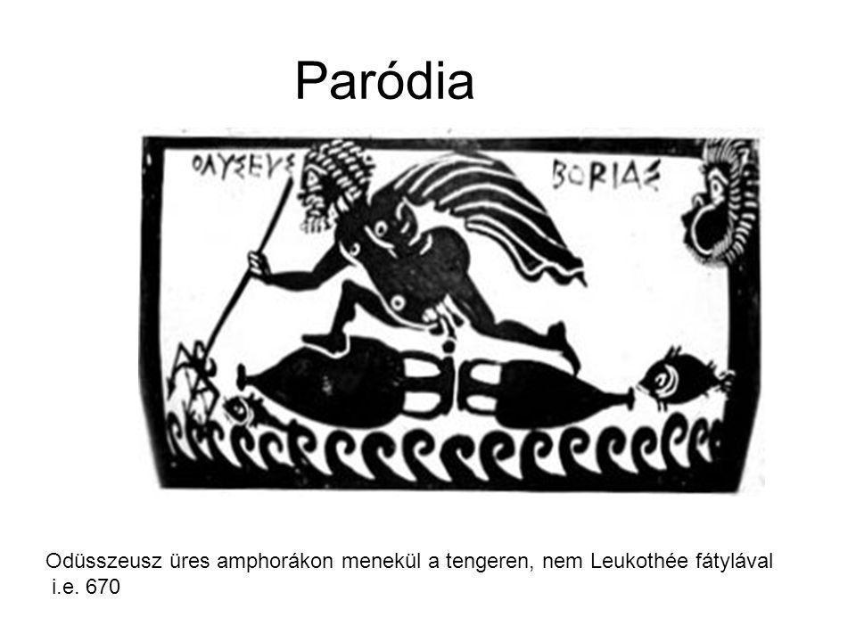 Paródia Odüsszeusz üres amphorákon menekül a tengeren, nem Leukothée fátylával i.e. 670