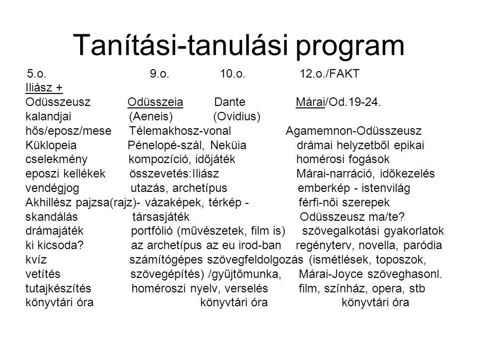 Tanítási-tanulási program 5.o. 9.o. 10.o. 12.o./FAKT Iliász + Odüsszeusz Odüsszeia Dante Márai/Od.19-24. kalandjai (Aeneis) (Ovidius) hős/eposz/mese T