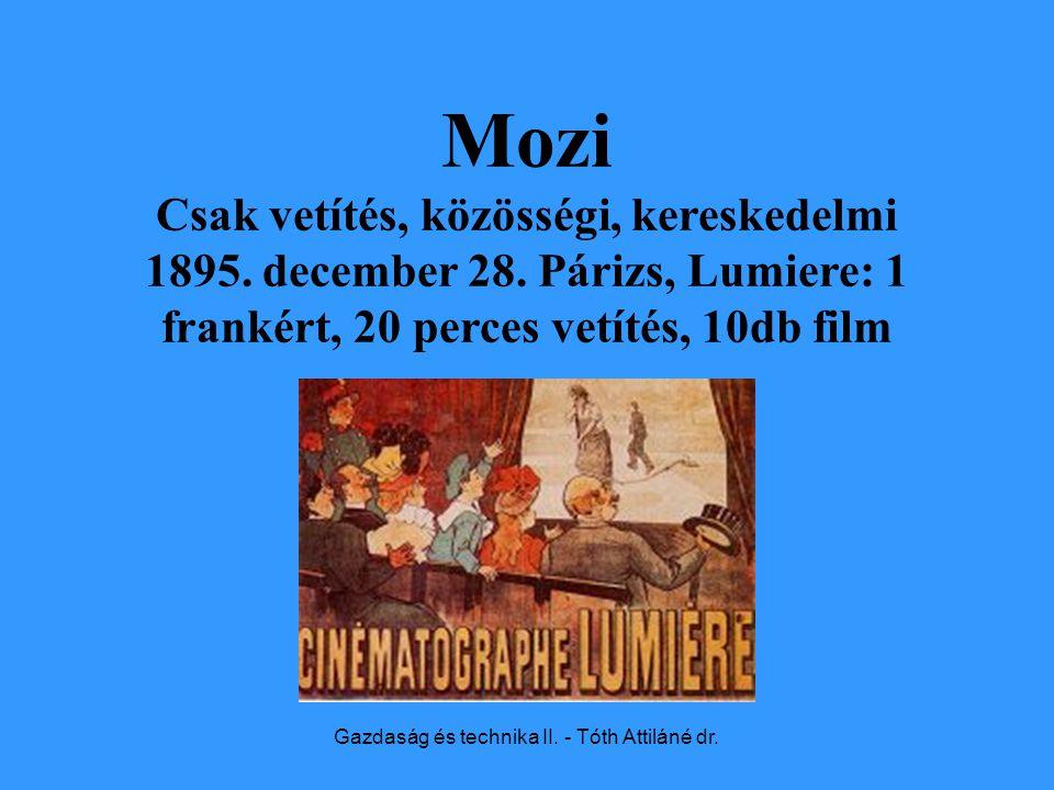 Gazdaság és technika II. - Tóth Attiláné dr. Mozi Csak vetítés, közösségi, kereskedelmi 1895.