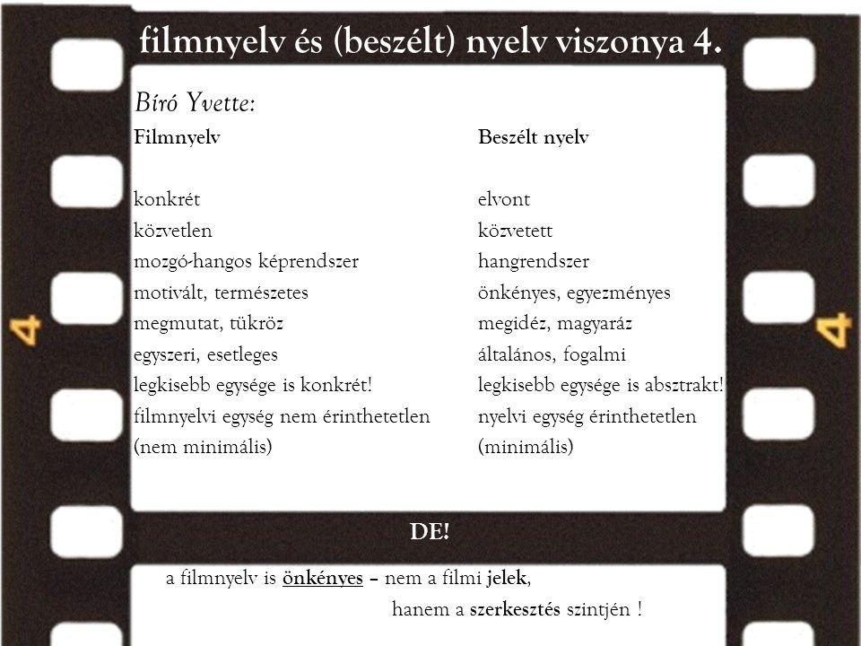 filmnyelv és (beszélt) nyelv viszonya 4. Bíró Yvette: FilmnyelvBeszélt nyelv konkrételvont közvetlenközvetett mozgó-hangos képrendszerhangrendszer mot