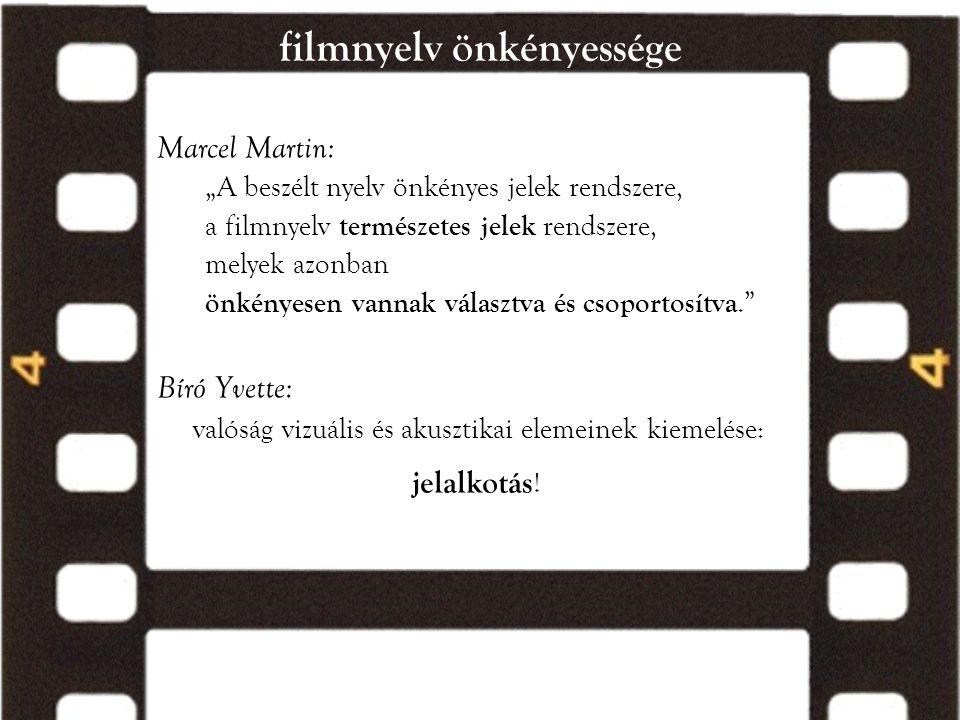 """filmnyelv önkényessége Marcel Martin: """"A beszélt nyelv önkényes jelek rendszere, a filmnyelv természetes jelek rendszere, melyek azonban önkényesen va"""
