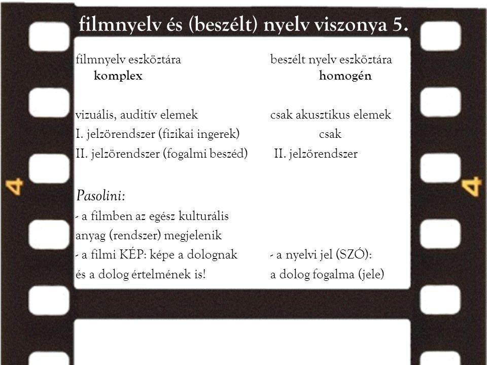 filmnyelv és (beszélt) nyelv viszonya 5. filmnyelv eszköztára beszélt nyelv eszköztára komplexhomogén vizuális, auditív elemekcsak akusztikus elemek I