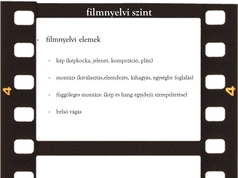 filmnyelvi szint -filmnyelvi elemek -kép (képkocka, jelenet, kompozíció, plán) -montázs (kiválasztás,elrendezés, kihagyás, egységbe foglalás) -függöle