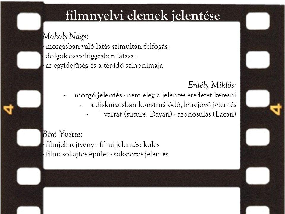 filmnyelvi elemek jelentése Moholy-Nagy: - mozgásban való látás szimultán felfogás : - dolgok összefüggésben látása : - az egyidejüség és a tér-idö sz