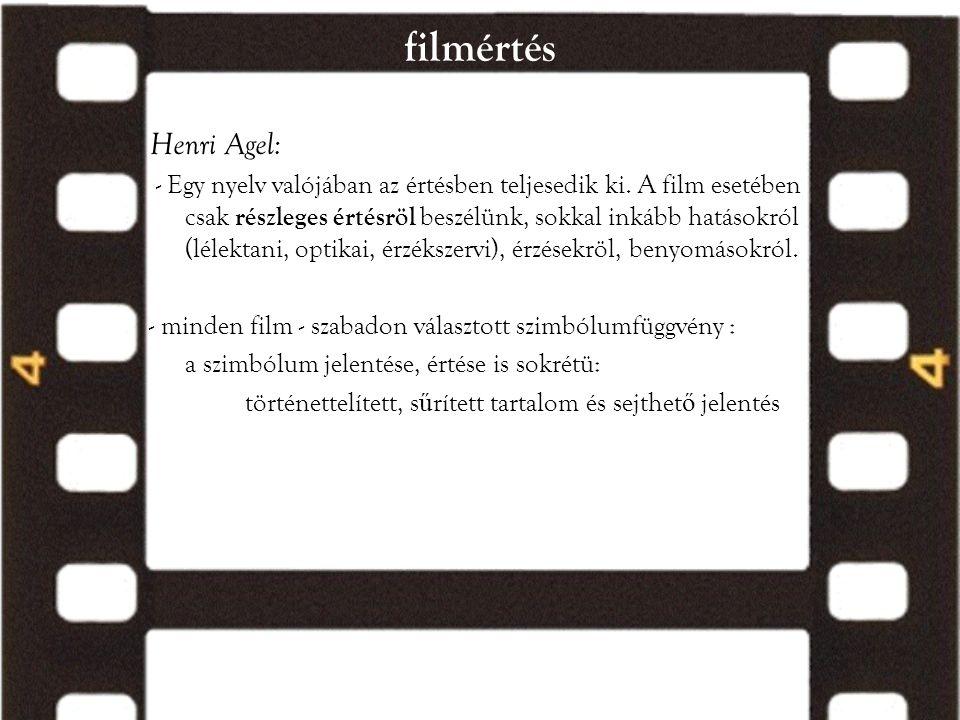filmértés Henri Agel: - Egy nyelv valójában az értésben teljesedik ki. A film esetében csak részleges értésröl beszélünk, sokkal inkább hatásokról (lé