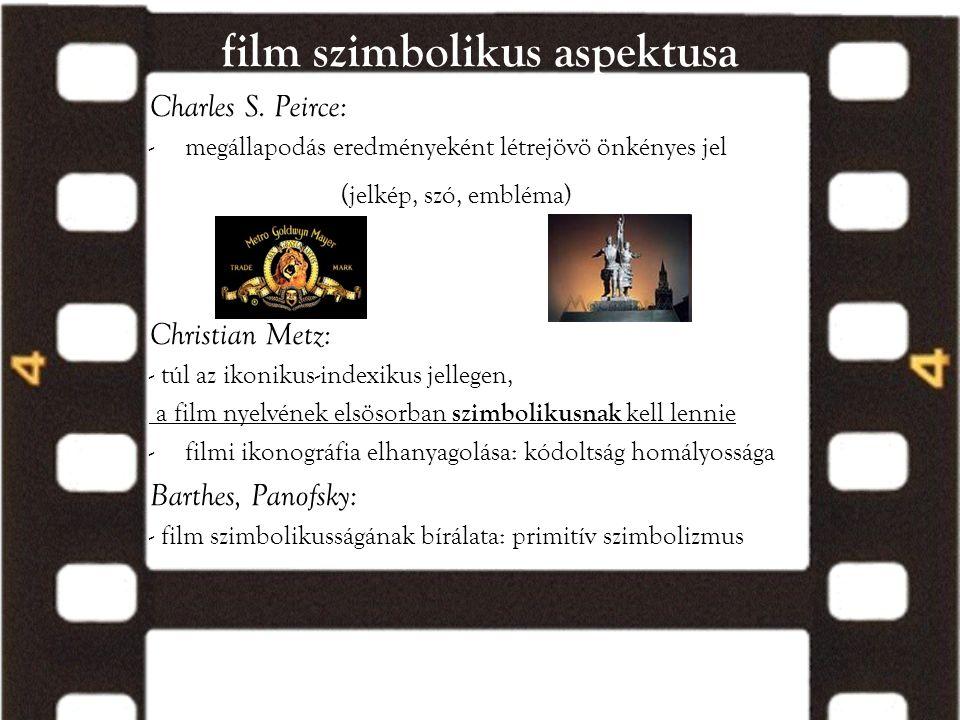 film szimbolikus aspektusa Charles S. Peirce: -megállapodás eredményeként létrejövö önkényes jel (jelkép, szó, embléma) Christian Metz: - túl az ikoni