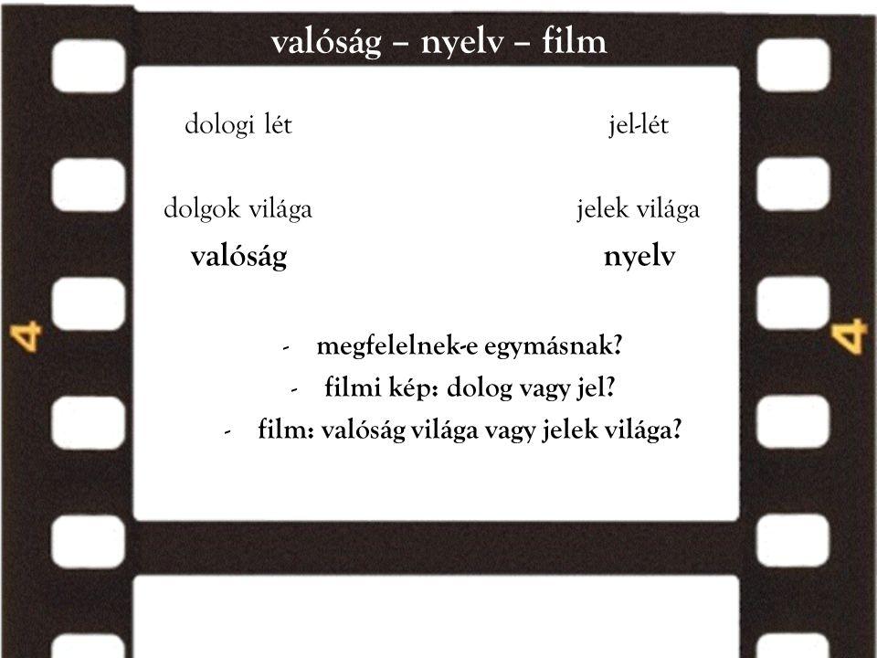 valóság – nyelv – film dologi lét dolgok világa valóság jel-lét jelek világa nyelv - megfelelnek-e egymásnak? - filmi kép: dolog vagy jel? - film: val