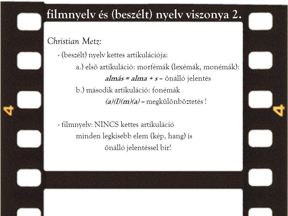 filmnyelv és (beszélt) nyelv viszonya 2. Christian Metz: - (beszélt) nyelv kettes artikulációja: a.) elsö artikuláció: morfémák (lexémák, monémák): al