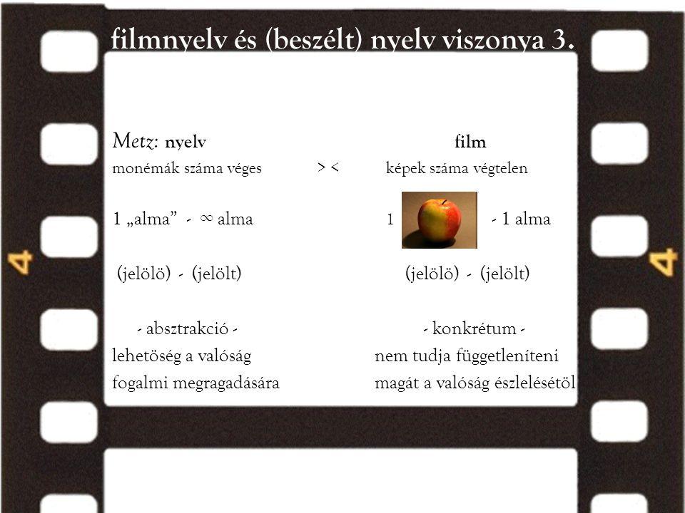 """filmnyelv és (beszélt) nyelv viszonya 3. Metz: nyelvfilm monémák száma véges > < képek száma végtelen 1 """"alma"""" - ∞ alma 1 - 1 alma (jelölö) - (jelölt)"""
