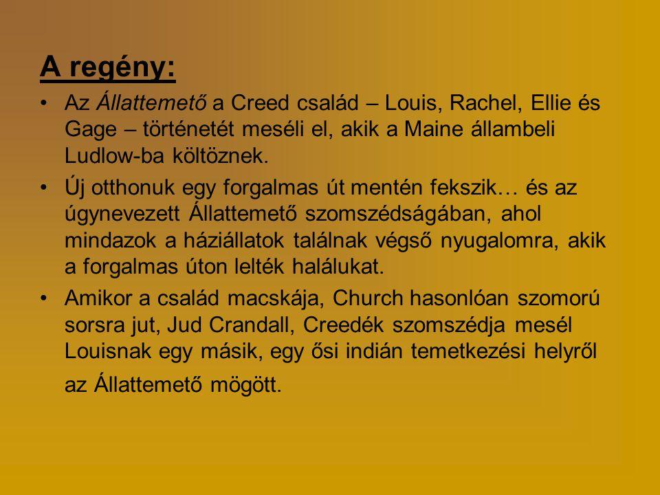 A regény: •Az Állattemető a Creed család – Louis, Rachel, Ellie és Gage – történetét meséli el, akik a Maine állambeli Ludlow-ba költöznek. •Új otthon