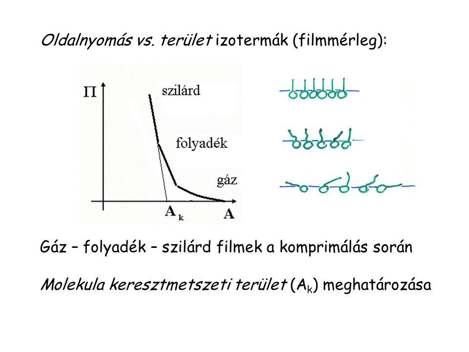 Oldalnyomás vs. terület izotermák (filmmérleg): Gáz – folyadék – szilárd filmek a komprimálás során Molekula keresztmetszeti terület (A k ) meghatároz