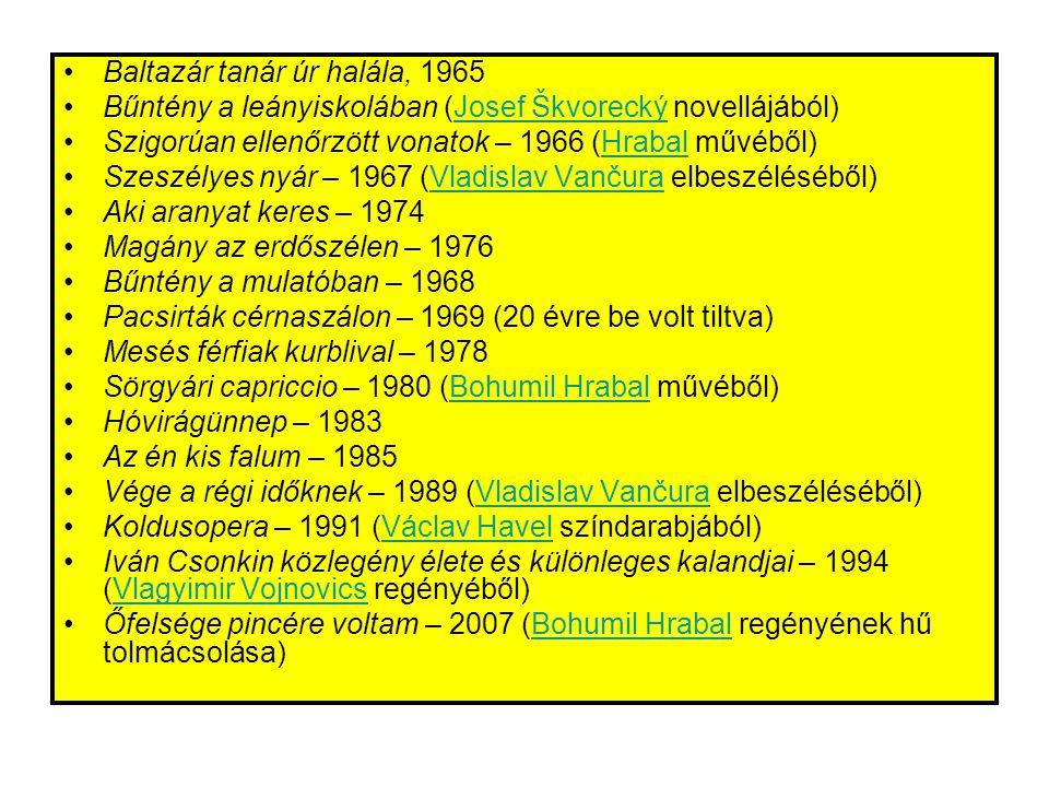 •Baltazár tanár úr halála, 1965 •Bűntény a leányiskolában (Josef Škvorecký novellájából)Josef Škvorecký •Szigorúan ellenőrzött vonatok – 1966 (Hrabal művéből)Hrabal •Szeszélyes nyár – 1967 (Vladislav Vančura elbeszéléséből)Vladislav Vančura •Aki aranyat keres – 1974 •Magány az erdőszélen – 1976 •Bűntény a mulatóban – 1968 •Pacsirták cérnaszálon – 1969 (20 évre be volt tiltva) •Mesés férfiak kurblival – 1978 •Sörgyári capriccio – 1980 (Bohumil Hrabal művéből)Bohumil Hrabal •Hóvirágünnep – 1983 •Az én kis falum – 1985 •Vége a régi időknek – 1989 (Vladislav Vančura elbeszéléséből)Vladislav Vančura •Koldusopera – 1991 (Václav Havel színdarabjából)Václav Havel •Iván Csonkin közlegény élete és különleges kalandjai – 1994 (Vlagyimir Vojnovics regényéből)Vlagyimir Vojnovics •Őfelsége pincére voltam – 2007 (Bohumil Hrabal regényének hű tolmácsolása)Bohumil Hrabal