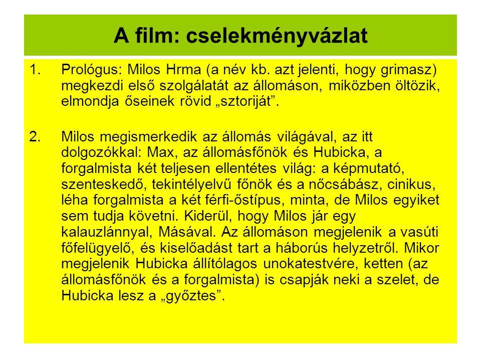 A film: cselekményvázlat 1.Prológus: Milos Hrma (a név kb.
