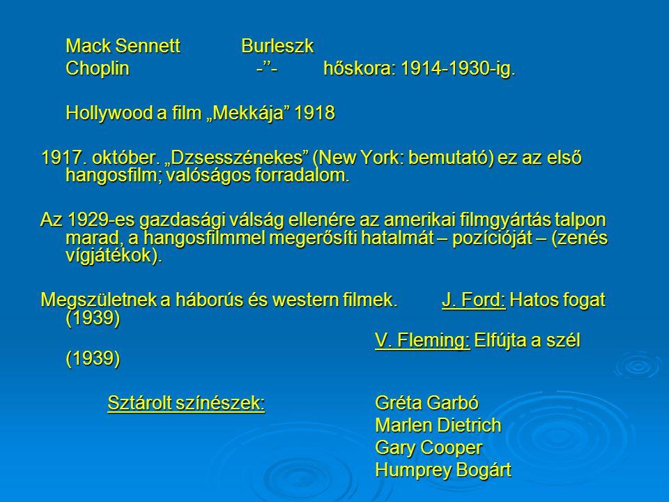 Amerikában megszületik a filmipar: Felépül Hollywood. (1899-1905) Fejlődésnek indul egy sajátos filmes kifejezésmód. Felbukkannak az első alkotók: Fri