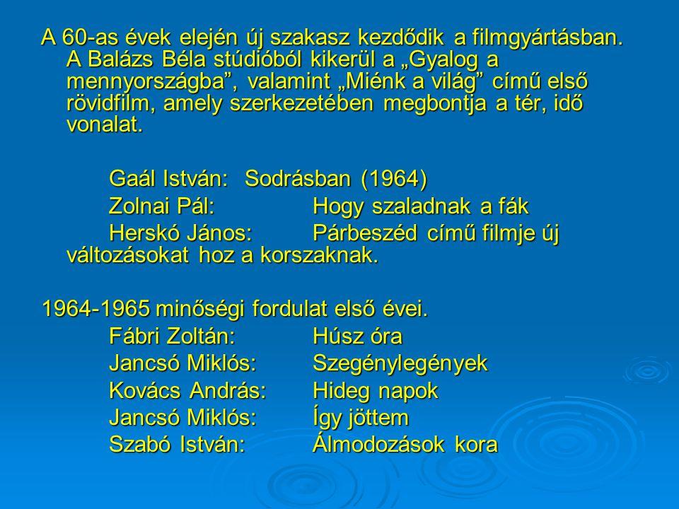 A magyar film további fejlődésének útjában az ötvenes évek elején akadályok gördülnek mivel a napi agitációk szolgálatában állnak. Keleti Márton:Dalol