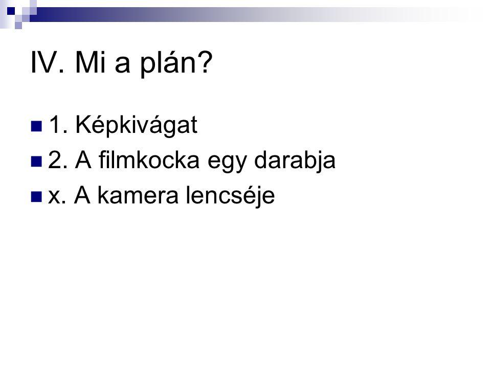 IV. Mi a plán?  1. Képkivágat  2. A filmkocka egy darabja  x. A kamera lencséje