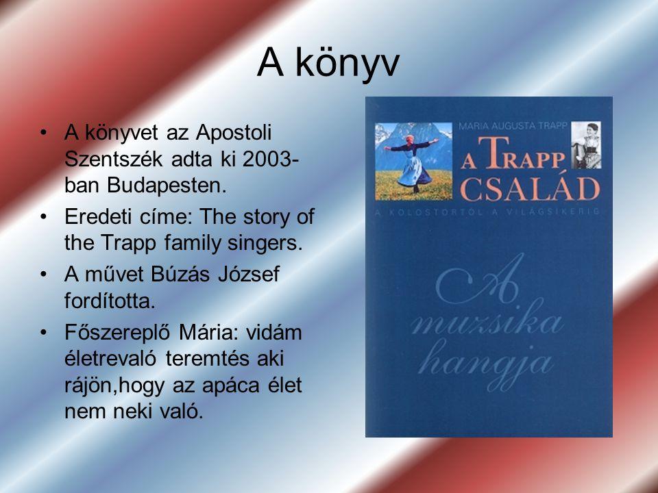 A könyv •A•A könyvet az Apostoli Szentszék adta ki 2003- ban Budapesten. •E•Eredeti címe: The story of the Trapp family singers. •A•A művet Búzás Józs