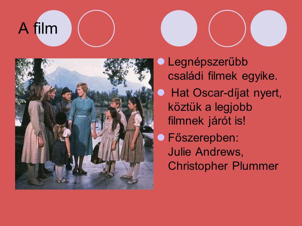 A film LLegnépszerűbb családi filmek egyike.  Hat Oscar-díjat nyert, köztük a legjobb filmnek járót is! FFőszerepben: Julie Andrews, Christopher