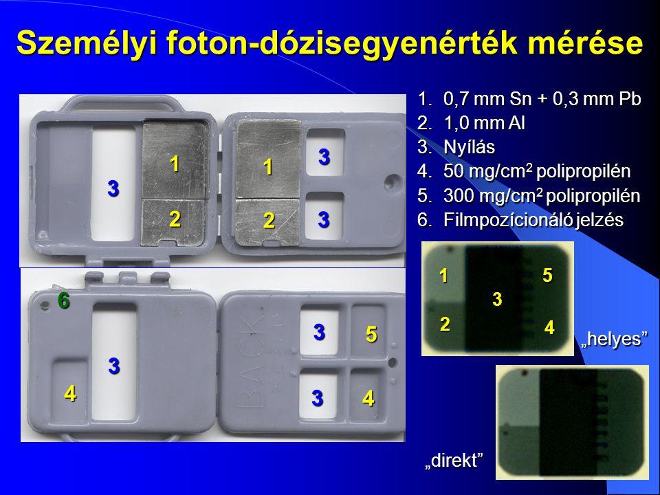 Személyi foton-dózisegyenérték mérése 1.0,7 mm Sn + 0,3 mm Pb 2.1,0 mm Al 3.Nyílás 4.50 mg/cm 2 polipropilén 5.300 mg/cm 2 polipropilén 6.Filmpozícion