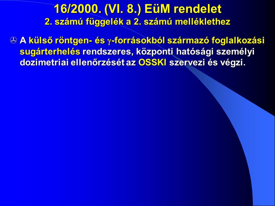 16/2000. (VI. 8.) EüM rendelet 2. számú függelék a 2. számú melléklethez  A külső röntgen- és  -forrásokból származó foglalkozási sugárterhelés rend
