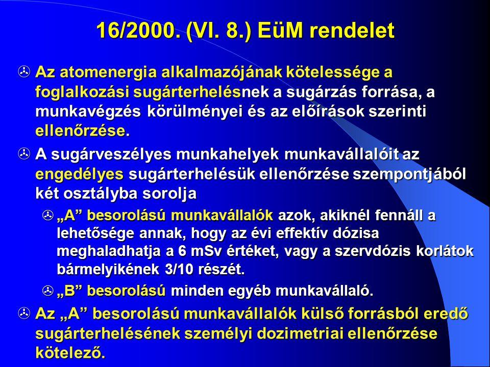 16/2000. (VI. 8.) EüM rendelet  Az atomenergia alkalmazójának kötelessége a foglalkozási sugárterhelésnek a sugárzás forrása, a munkavégzés körülmény