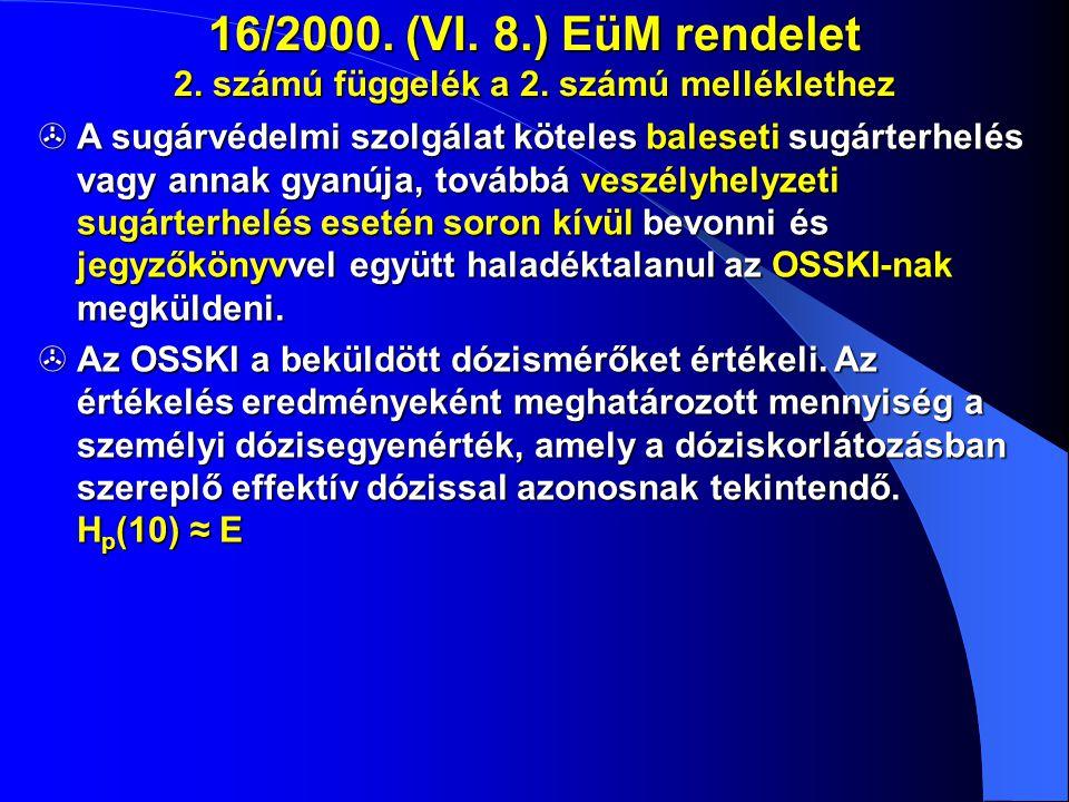 16/2000. (VI. 8.) EüM rendelet 2. számú függelék a 2. számú melléklethez  A sugárvédelmi szolgálat köteles baleseti sugárterhelés vagy annak gyanúja,