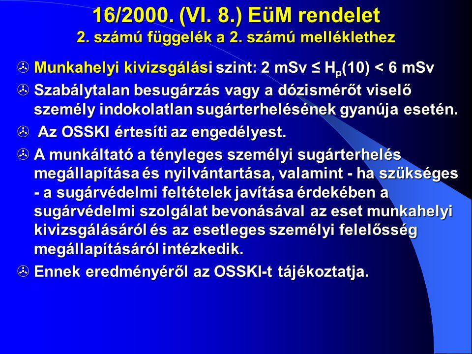 16/2000. (VI. 8.) EüM rendelet 2. számú függelék a 2. számú melléklethez  Munkahelyi kivizsgálási szint: 2 mSv ≤ H p (10) < 6 mSv  Szabálytalan besu