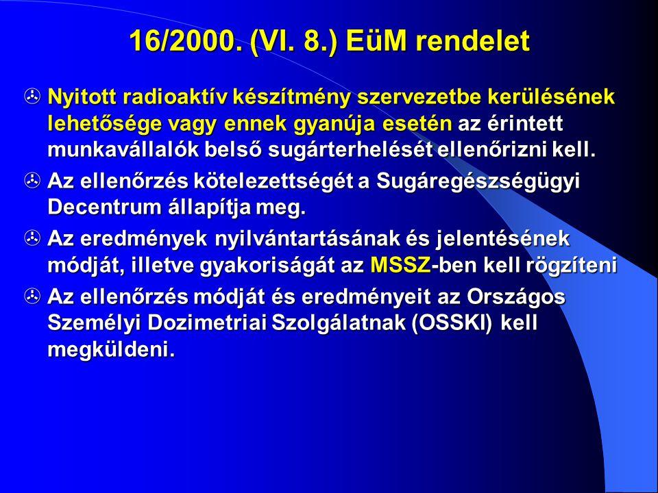 16/2000. (VI. 8.) EüM rendelet  Nyitott radioaktív készítmény szervezetbe kerülésének lehetősége vagy ennek gyanúja esetén az érintett munkavállalók