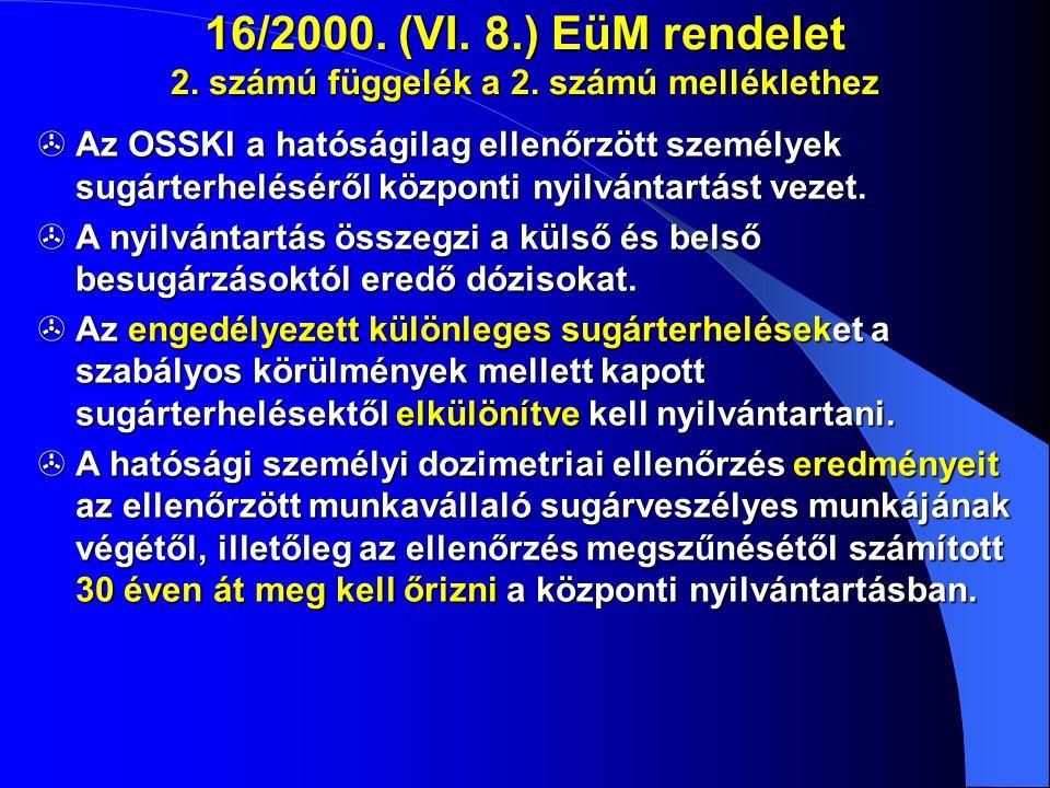 16/2000. (VI. 8.) EüM rendelet 2. számú függelék a 2. számú melléklethez  Az OSSKI a hatóságilag ellenőrzött személyek sugárterheléséről központi nyi