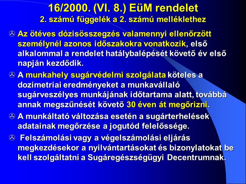 16/2000. (VI. 8.) EüM rendelet 2. számú függelék a 2. számú melléklethez  Az ötéves dózisösszegzés valamennyi ellenőrzött személynél azonos időszakok