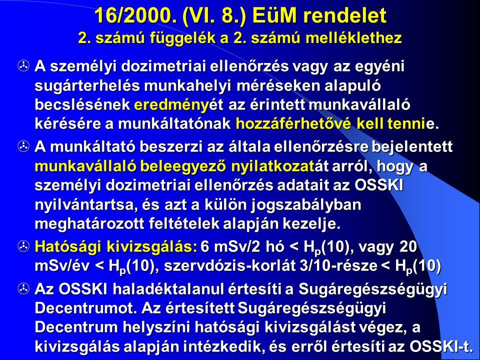 16/2000. (VI. 8.) EüM rendelet 2. számú függelék a 2. számú melléklethez  A személyi dozimetriai ellenőrzés vagy az egyéni sugárterhelés munkahelyi m