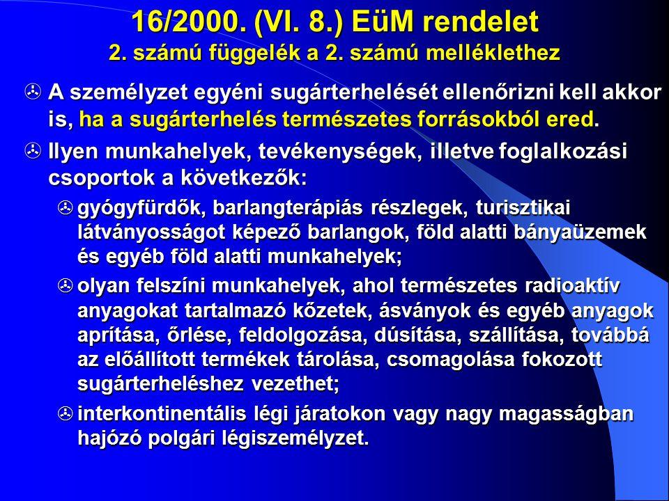 16/2000. (VI. 8.) EüM rendelet 2. számú függelék a 2. számú melléklethez  A személyzet egyéni sugárterhelését ellenőrizni kell akkor is, ha a sugárte