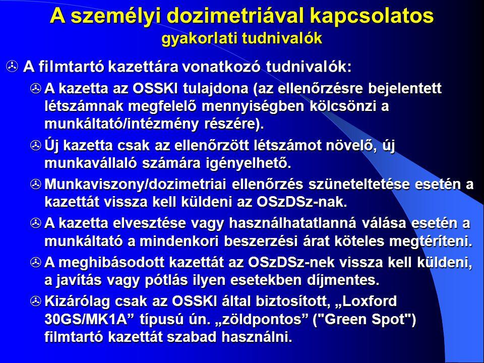 A személyi dozimetriával kapcsolatos gyakorlati tudnivalók  A filmtartó kazettára vonatkozó tudnivalók:  A kazetta az OSSKI tulajdona (az ellenőrzés